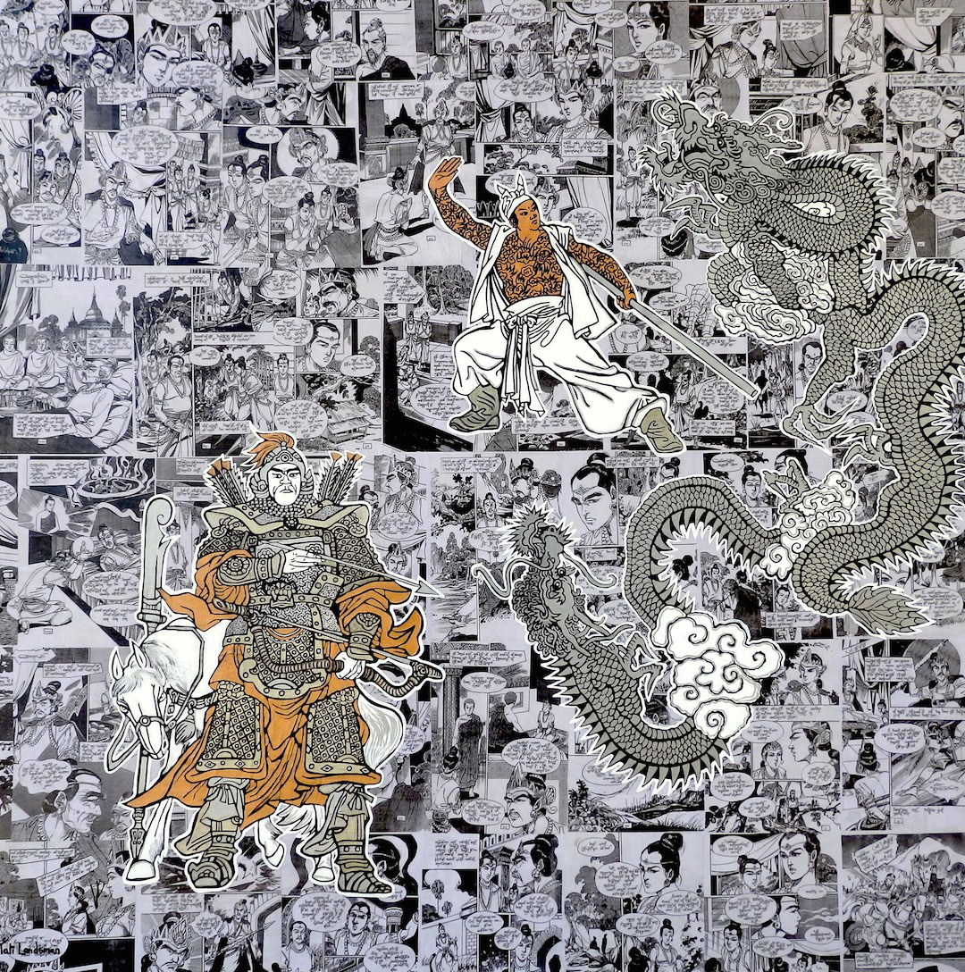 """Two Headed Flying Dragon 48"""" by 48"""" Burmese comic collage on canvas with Acrylics and metallic paints"""